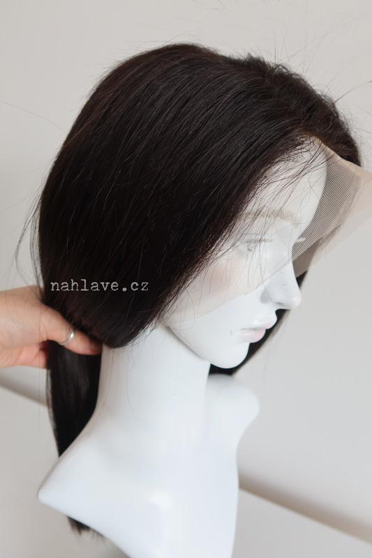 Paruka z pravých lidských vlasů tmavě hnědá, černá