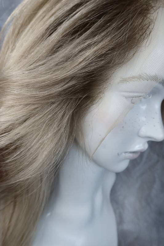 Paruka pravý vlas v light blond barvě s odrosty