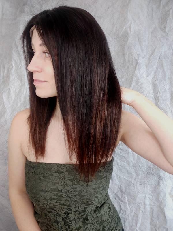 Paruka z pravých vlasů, dark brown balayage.