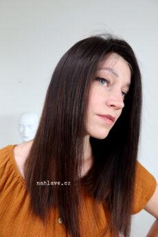 Tmavě hnědá paruka z pravých vlasů s délkou pod ramena