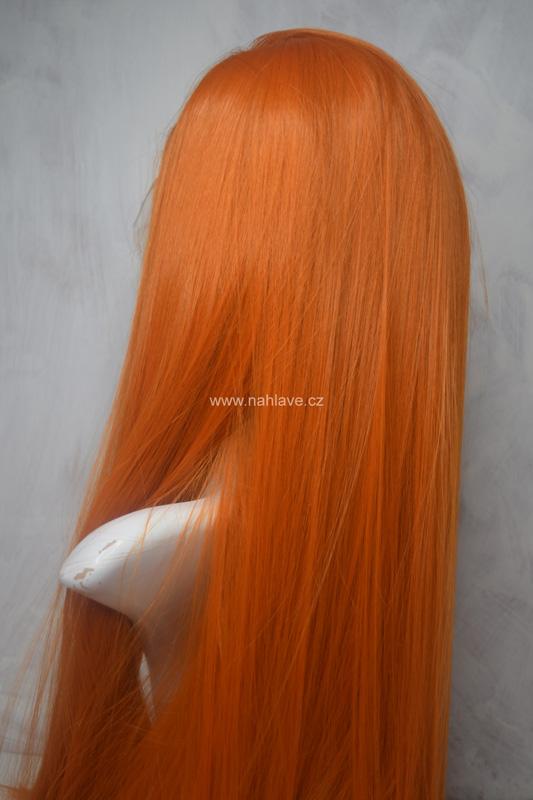 Krásná paruka ze syntetického materiálu, dámská, parochne, dlouhá ve světlé zrz barvě.