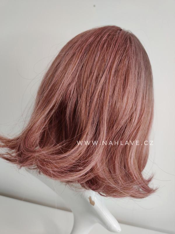 Růžová paruka ze syntetického materiálu, mikádo.